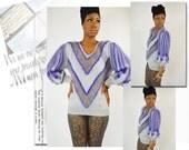 vintage womens 1980s puff shoulder hilde boykin detailed design sweater shirt