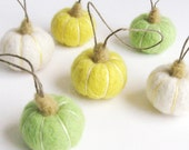 Spring color set. pumpkin ornament :  miniature needle felted pumpkins (set of 6) - white, lemon yellow, apple green