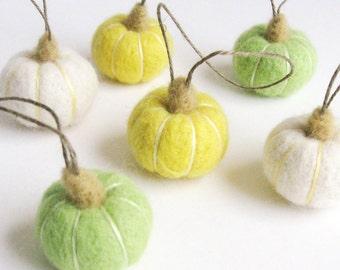 Miniature felt pumpkins : needle felted pumpkin ornaments - white, lemon yellow, apple green spring decor