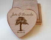 Rustic Wedding Favor Wood Magnets-50 Custom Save the date Tree heart shape LOVE theme-custom made