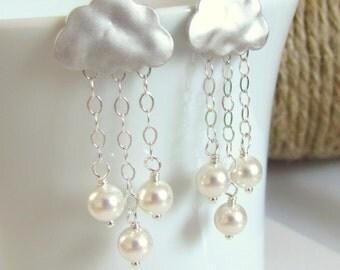 Rain Cloud Earrings, Cloud Earrings, Pearl Raindrops, Rainy Day Earrings, Silver Dangle Earrings
