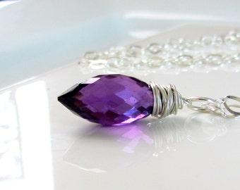 Dark Amethyst Necklace, Purple Quartz Stone, Violet Gemstone, Sterling Silver Wire Wrapped