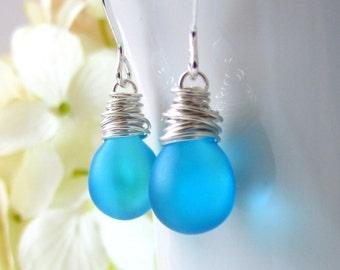 Satin Tiffany Blue Glass Earrings, Sterling Silver Wrapped Teardrop Czech Glass Sky Blue Earrings, Bridesmaid Earrings