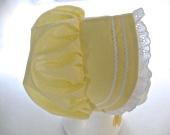 Baby Toddler Bonnet Sunhat Sunbonnet YELLOW w/eyelet lace, NB, 3, 6, 9, 12, 18 months