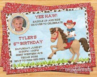 Kids Cowboy on Horse Birthday Party Invitation