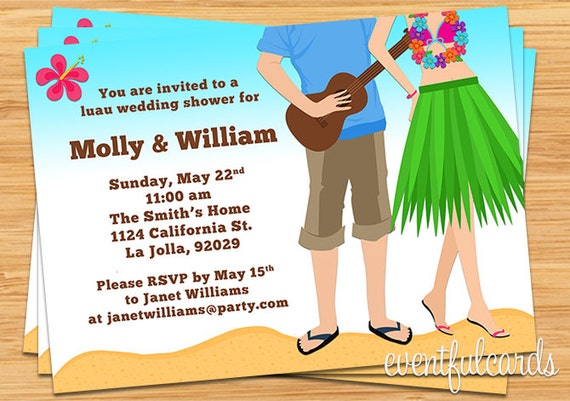 luau couples wedding shower invitation