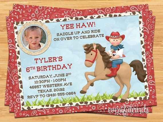 Kids cowboy on horse birthday party invitation by eventfulcards il570xn filmwisefo