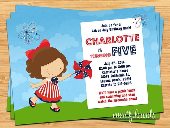 4th of july birthday party invitation