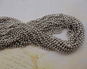 15PCS 2.4mm 27 inch white k ball necklace chain with matching connector