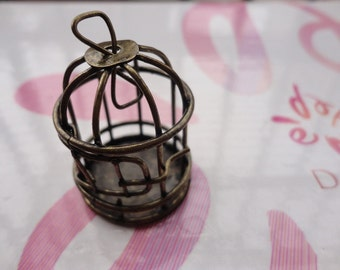 2pcs antique bronze bird cage findings 40x30mm