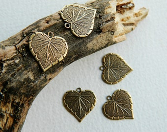 Small Brass Heart Leaf Charms  Antique Brass USA Made 10x13mm (10pcs) NEW
