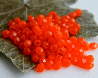 Faceted Round Beads, Czech Glass Fire Polished Beads, 4mm, Opal Tangerine (100pcs) NEW