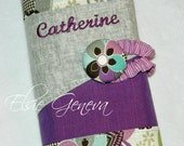 Personalized Japanese Grey Liberty Purple and Aqua Japanese Linen Crochet Hook Case with Sewn in Zipper Pocket