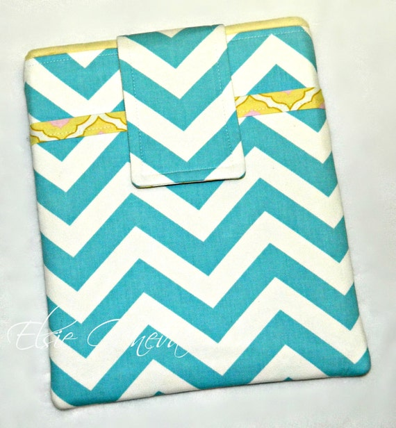 Aqua Chevron with Yellow iPad Case with Back Zipper Pocket Ready to Ship