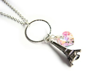 Eiffel Tower Necklace With Swarovski Crystal Heart In Silver - From Paris With Love, We Love Paris