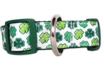 Lucky Clover Dog Collar - 1 inch wide - buckle or martingale - St Patricks Day dog collar - shamrock dog collar - green dog collar - irish
