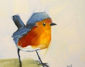 Baby Robin no. 6 Art Print by Angela Moulton 5 x 5 inches