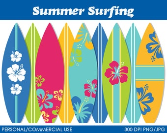 Summer Surfing Clipart - Digital Clip Art Graphics for Personal or Commercial Use