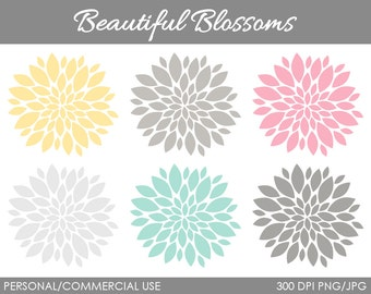 Beautiful Blossoms Clipart - Digital Clip Art Graphics for Personal or Commercial Use
