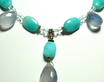 AAA Peruvian Amazonite  Y Necklace w Natural Blue Chalcedony Drops Necklace Peruvian Amazonite and Blue Chalcedony Necklace w Sterling