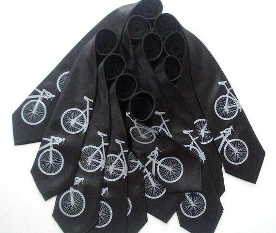 Silkscreened Bicycle Ties - Groomsmen ties - 10 matching groomsmen neckties - Gift Wrapped