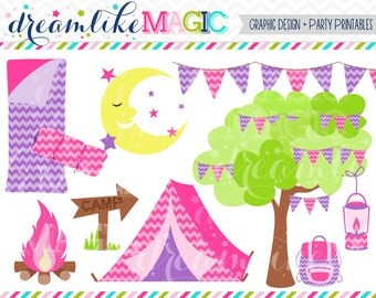 Girly Glam Camp Party - Clipart for Personal or Commercial Use