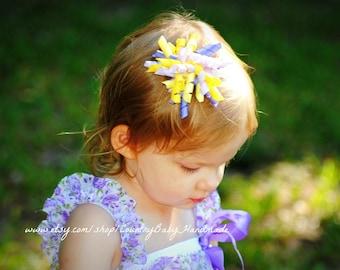 Hair Bow...Bow...Corker Bow...Hair Clip...Purple Corker Bow...Purple and Yellow Bow...Handmade Corker Bow...Toddler Hair Bow...Hair Bows