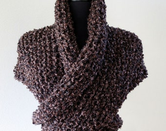 MADE TO ORDER - Outlander Inspired Claire's Cape Dark Brown Color Knitted Chunky Boucle Yarn Sassenach Shawl Wrap Stole with Tassels