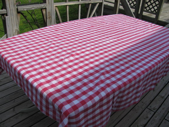 Red and White Gingham Tablecloth Woven Large Vintage by ...