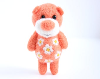 Salmon Pink felted miniature pocket bear