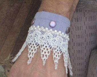 Handmade Lavender Silk Hand Beaded Silk Cuff with Venice Lace and Freshwater Pearls
