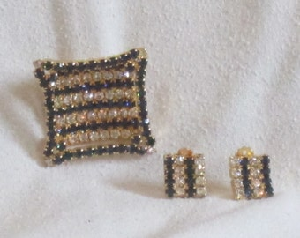 Vintage Sapphire Blue Rhinestone and Crystal Clear Rhinestone Picture Frame Brooch with Earrings