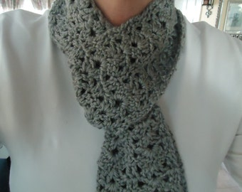 Woman's Crocheted Infinity Cowl Scarf in Gray - Clearance Sale