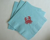 Crab Paper Cocktail/ Luncheon/ Dinner Napkins - Blue and Red