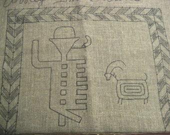 Gaucho & Ram Petroglpy Hooked Tote Bag - rug hooking pattern