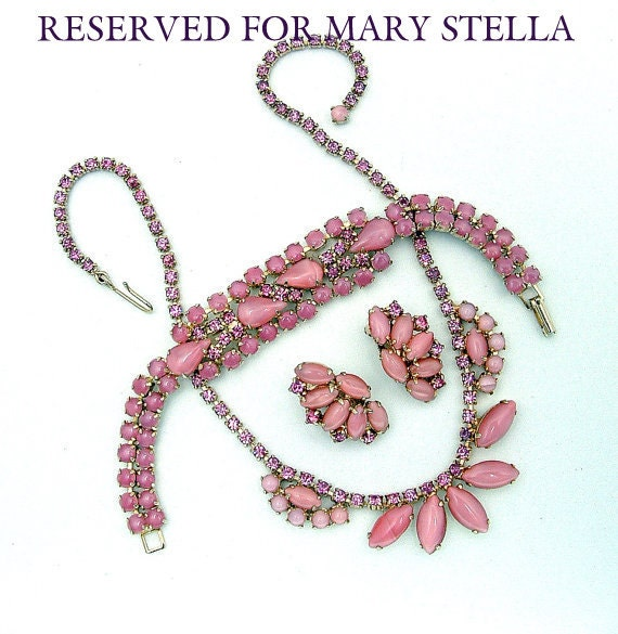 RESERVED for Mary Stella. Vintage  Juliana Style Parure Necklace Bracelet Earrings 3pc Set Pink Moonstone