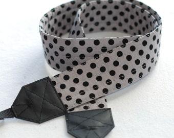 Gray with Black Dot SLR Camera Strap - Free Shipping