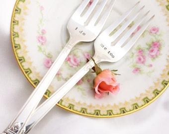 Hand Stamped I do me too Wedding Cake Tasting Forks by Blithe Vintage