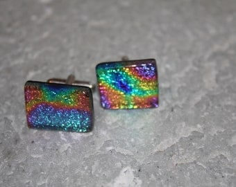 Dichroic Fused Glass Cuff Links Rainbow of Colors