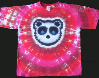 Youth Tie Dye Shirt Panda with Maroon, Red, and Fuschia Stripes