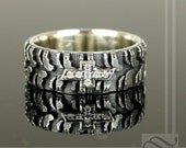 Mens Chevy Tire Tread Ring with CZ - Sterling Silver