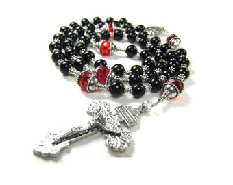 Black Rosary Beads with Red Crystals, Pardon Crucifix
