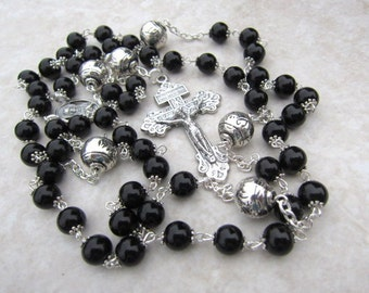 Black Rosary Necklace in Onyx and Silver Tribal Beads, Handlinked