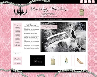 Premade Boutique Web Site Package, ecommerce website, Web Design, Website Design, Vintage Pink Website, Jewelry, Chic web design