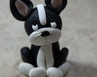 Boston Terrier Dog Clay Figurine