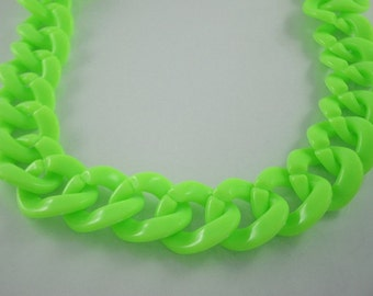 30 inch.Lime Green Chunky Chain Plastic Link Necklace Craft DIY (Round) (Big Size.) CRB3