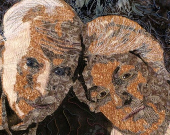 Customized Art Quilt Portrait Wall Hanging  Two Faces
