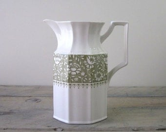 Vintage Transferware Ironstone Pitcher Kensington Staffordshire Green Dundee
