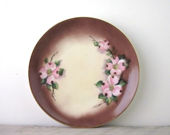 Pink Dogwood China Plate Hand Painted and Signed