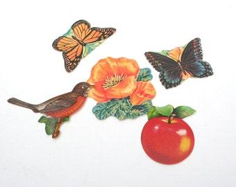 Lot of Dennison nature seals. Butterflies, birds, flowers, California poppies, Monarch butterflies.